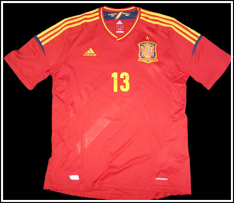 Spain home jersey front number