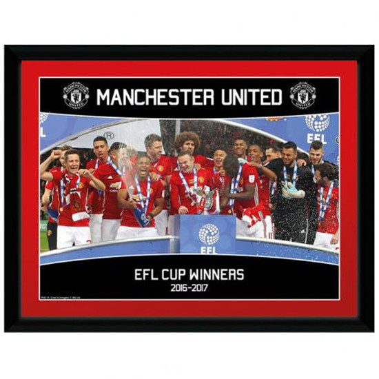 Manchester United FC Picture EFL Cup Winners 16 x 12