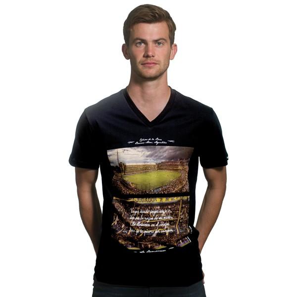 La Bombonera V-Neck Black T-Shirt