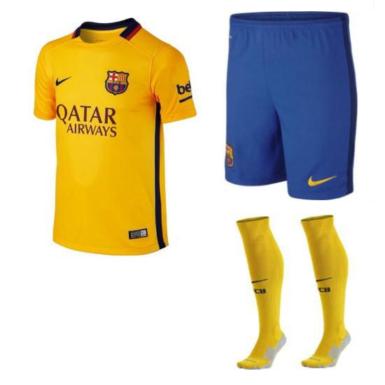 Fc Barcelona Away Youth Kit 2015 16 Barcelona Youth Kit