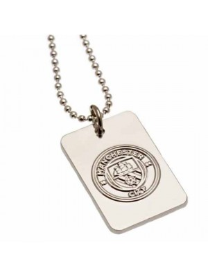 Manchester City FC Silver Plated Dog Tag & Chain
