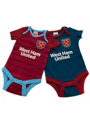 West Ham United FC 2 Pack Bodysuit 3/6 Months BL