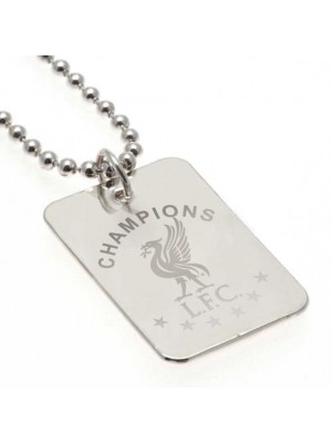 Liverpool FC Champions Of Europe Silver Plated Dog Tag & Chain