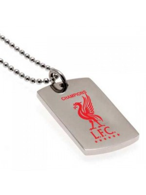 Liverpool FC Champions Of Europe Colour Crest Dog Tag & Chain