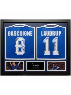 Rangers FC Gascoigne & Laudrup Signed Shirt (Duo Framed)