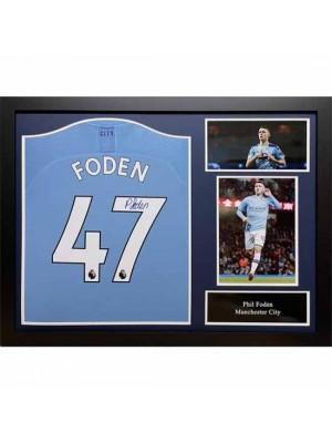 Manchester City FC Foden Signed Shirt (Framed)