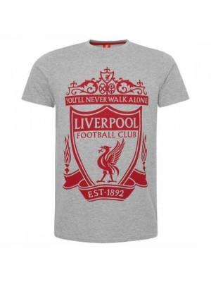 Liverpool FC Crest T Shirt Mens Grey M