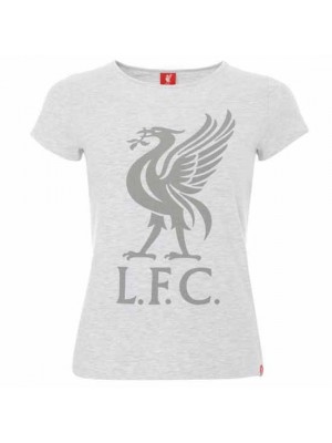 Liverpool FC Liverbird T Shirt Ladies Ice Marl 12