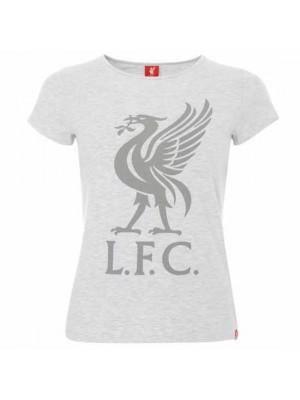 Liverpool FC Liverbird T Shirt Ladies Ice Marl 16