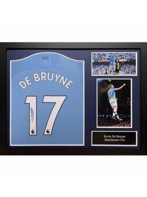 Manchester City FC De Bruyne Signed Shirt (Framed)