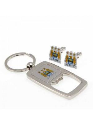 Manchester City FC Cufflinks & Keyring Bottle Opener Set