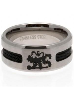 Chelsea FC Black Inlay Ring Medium
