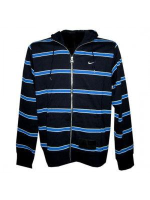 hoody full zipper top stripe - mens - navy