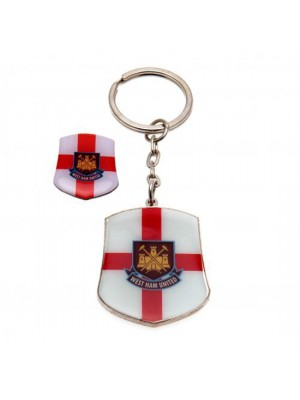 West Ham United FC Keyring & Badge Set SG