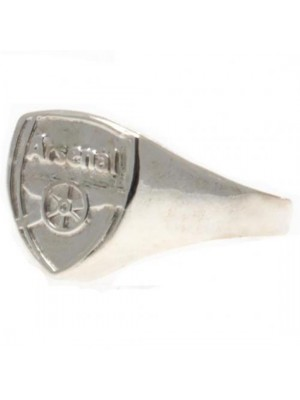 Arsenal FC Silver Plated Crest Ring Medium