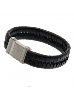 Arsenal FC Single Plait Leather Bracelet