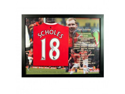 Manchester United FC Scholes Signed Shirt (Framed)