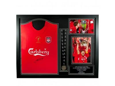 Liverpool FC Gerrard Signed Shirt Istanbul (Framed)