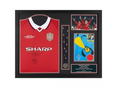 Manchester United FC Sheringham & Solskjaer Signed Shirt Medal Framed