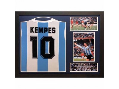 Argentina Kempes Signed Shirt Framed