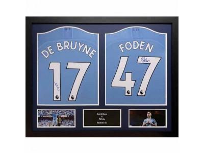 Manchester City FC De Bruyne & Foden Signed Shirts (Dual Framed)