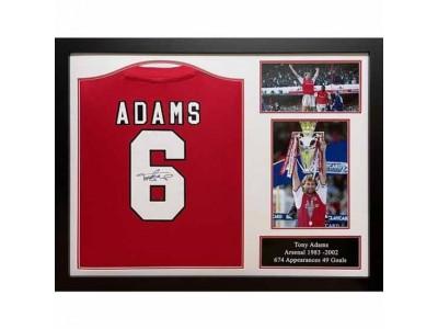 Arsenal FC Adams Retro Signed Shirt (Framed)
