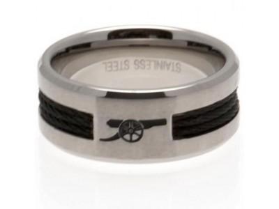 Arsenal FC Black Inlay Ring Medium