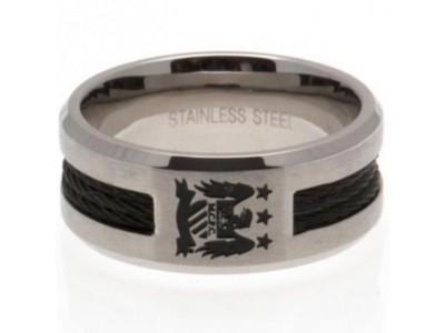 Manchester City FC Black Inlay Ring Medium EC