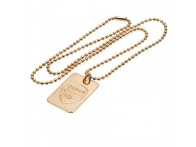 Arsenal FC Gold Plated Dog Tag & Chainq