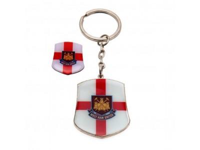 West Ham United FC Keyring & Badge Set SG