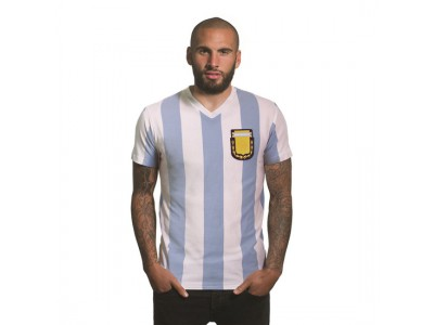 Argentina 1982 V-Neck T-Shirt | White, Skyblue
