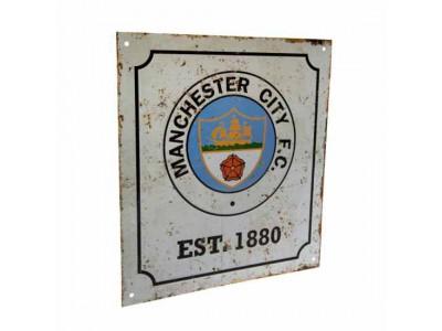 Manchester City FC Retro Logo Sign