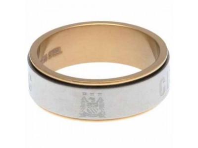 Manchester City FC Bi Colour Spinner Ring Medium EC