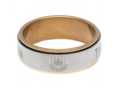 West Ham United FC Bi Colour Spinner Ring Medium CT