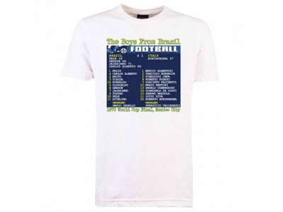 Mexico World Cup 1970 Final (Brazil) Retrotext T-Shirt - White