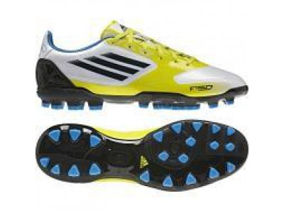 F10 AG Cleats - White, Yellow, Blue, Men's
