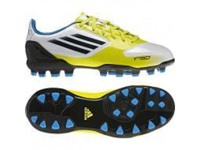 F10 AG Cleats - White, Yellow, Blue, Youth