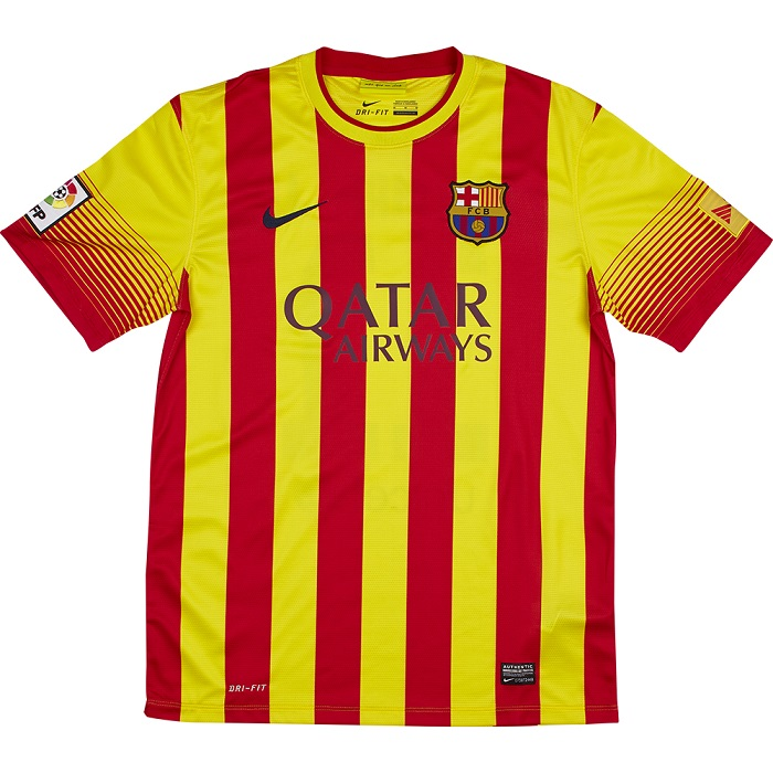 FC Barcelona away jersey 13/14 Catalan stripes