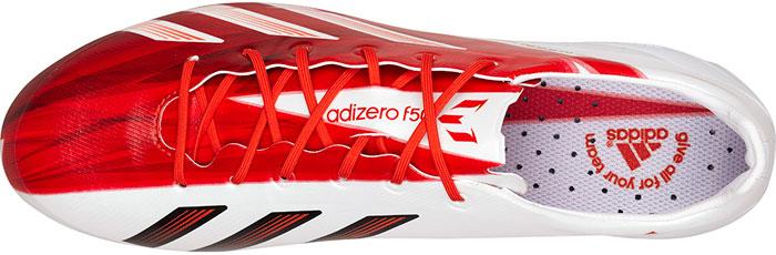 Messi fodboldstøvler i rød og hvid upper