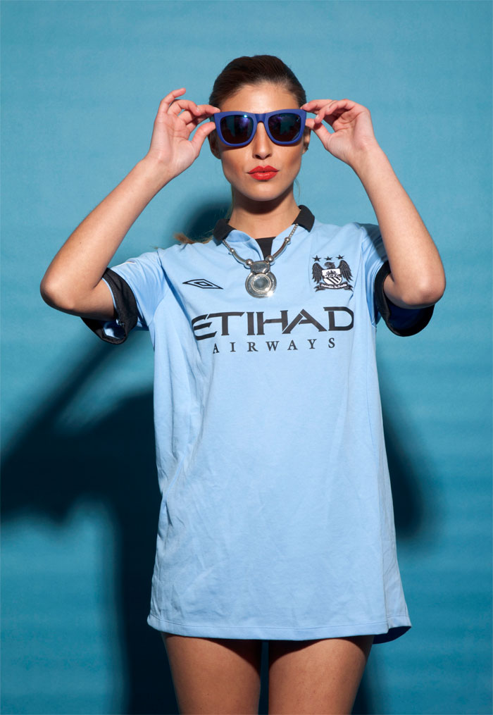 Man City model wearing the glasses