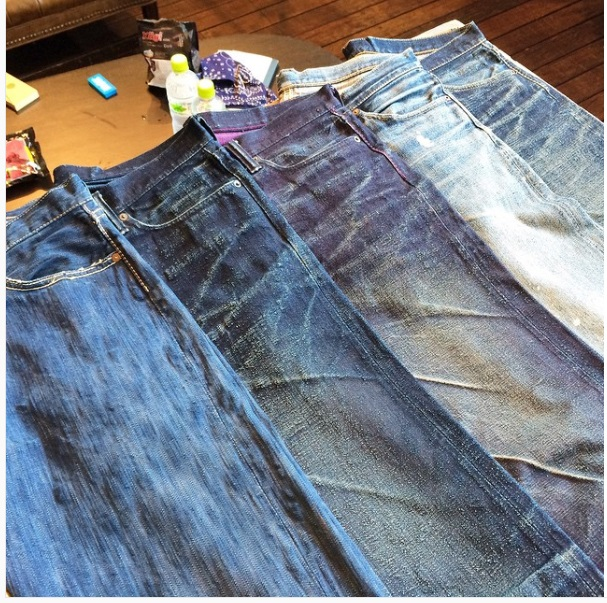 worn jeans in different qualities